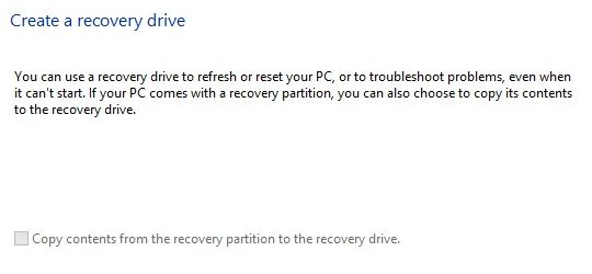 Windows 8 Create Recovery Drive