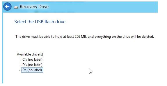 Windows 8 Flash Recovery Drive